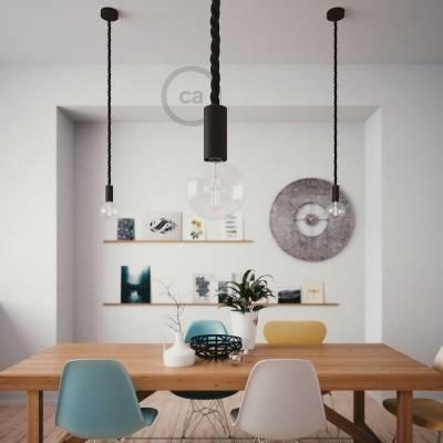 Lampada a sospensione legno verniciato nero con cordone nautico 2XL in tessuto nero lucido 24 mm, Made in Italy