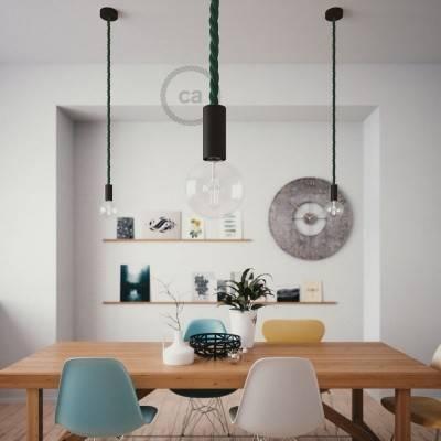 Lampada a sospensione legno verniciato nero con cordone nautico 2XL in tessuto verde scuro lucido 24 mm, Made in Italy