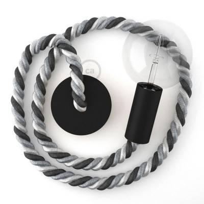 Lampada a sospensione legno verniciato nero con cordone nautico 2XL in tessuto lucido Orleans 24 mm, Made in Italy