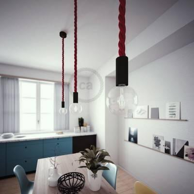 Lampada a sospensione legno verniciato nero con cordone nautico 3XL in tessuto bordeaux scuro 30 mm, Made in Italy