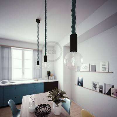 Lampada a sospensione legno verniciato nero con cordone nautico 3XL in tessuto verde scuro lucido 30 mm, Made in Italy
