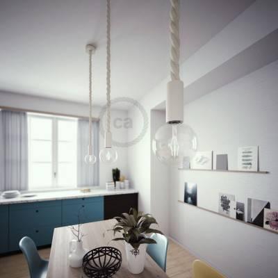 Lampada a sospensione legno verniciato bianco con cordone nautico 3XL in cotone grezzo 30 mm, Made in Italy