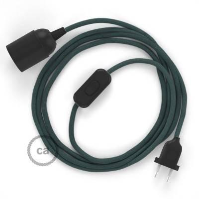 SnakeBis cablaggio con portalampada cavo tessile Cotone Grigio Pietra RC30