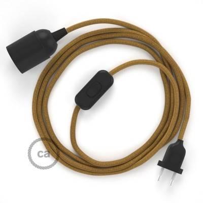 SnakeBis cablaggio con portalampada cavo tessile Cotone Miele Dorato RC31