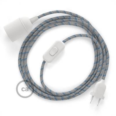 SnakeBis cablaggio con portalampada cavo tessile Stripes Blu Steward RD55