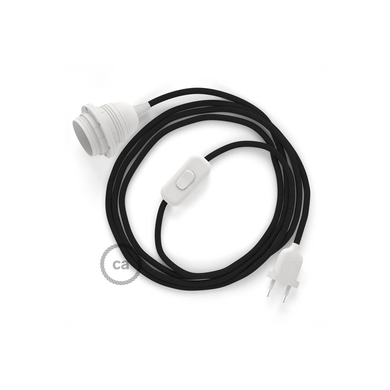 SnakeBis cablaggio con portalampada cavo tessile Effetto Seta Nero RM04