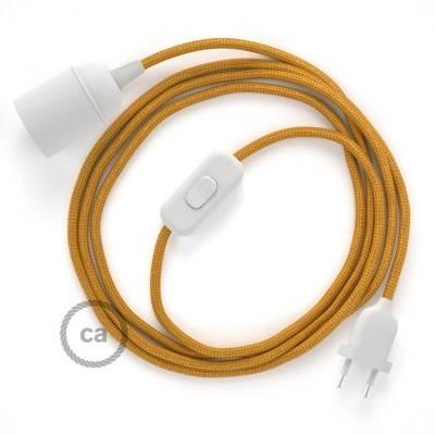 SnakeBis cablaggio con portalampada cavo tessile Effetto Seta Oro RM05