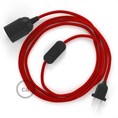 SnakeBis cablaggio con portalampada cavo tessile Effetto Seta Rosso RM09