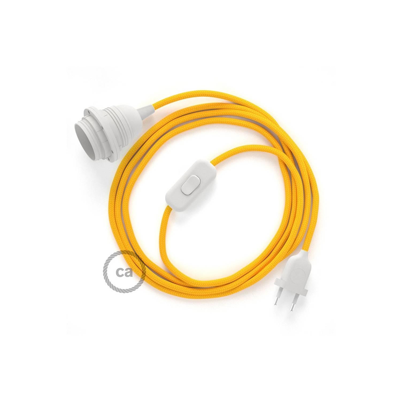 SnakeBis cablaggio con portalampada cavo tessile Effetto Seta Giallo RM10