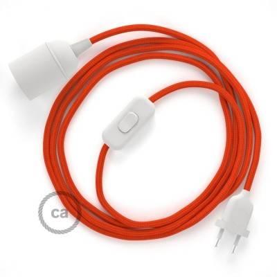 SnakeBis cablaggio con portalampada cavo tessile Effetto Seta Arancione RM15