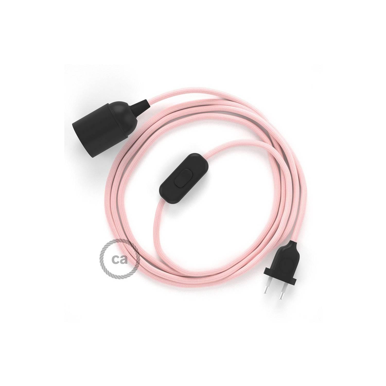 SnakeBis cablaggio con portalampada cavo tessile Effetto Seta Rosa Baby RM16