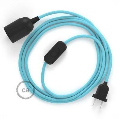 SnakeBis cablaggio con portalampada cavo tessile Effetto Seta Azzurro Baby RM17