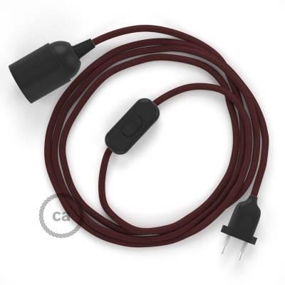 SnakeBis cablaggio con portalampada cavo tessile Effetto Seta Bordeaux RM19