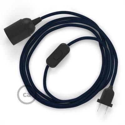 SnakeBis cablaggio con portalampada cavo tessile Effetto Seta Blu Scuro RM20