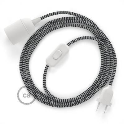 SnakeBis cablaggio con portalampada cavo tessile ZigZag Nero RZ04