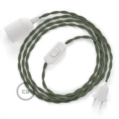 SnakeBis cablaggio con portalampada cavo tessile Cotone Grigio Verde TC63