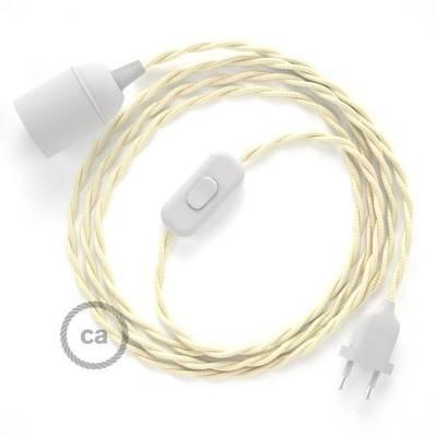 SnakeBis cablaggio con portalampada cavo tessile Effetto Seta Avorio TM00