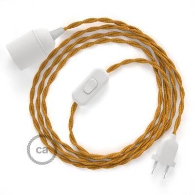 SnakeBis cablaggio con portalampada cavo tessile Effetto Seta Oro TM05