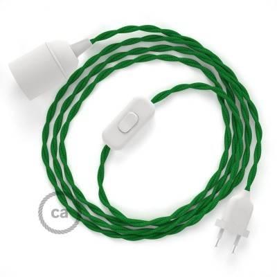 SnakeBis cablaggio con portalampada cavo tessile Effetto Seta Verde TM06