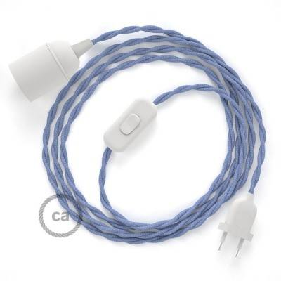 SnakeBis cablaggio con portalampada cavo tessile Effetto Seta Lilla TM07