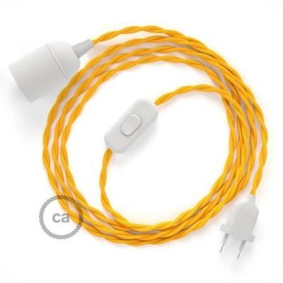 SnakeBis cablaggio con portalampada cavo tessile Effetto Seta Giallo TM10