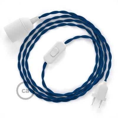 SnakeBis cablaggio con portalampada cavo tessile Effetto Seta Blu TM12
