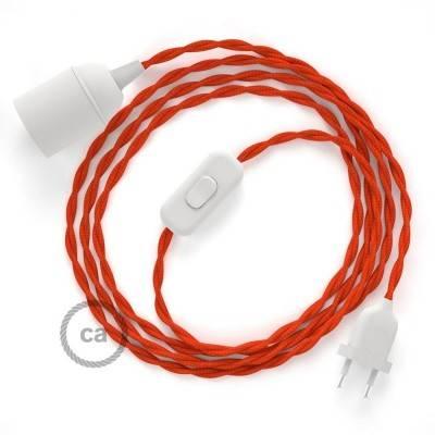 SnakeBis cablaggio con portalampada cavo tessile Effetto Seta Arancione TM15