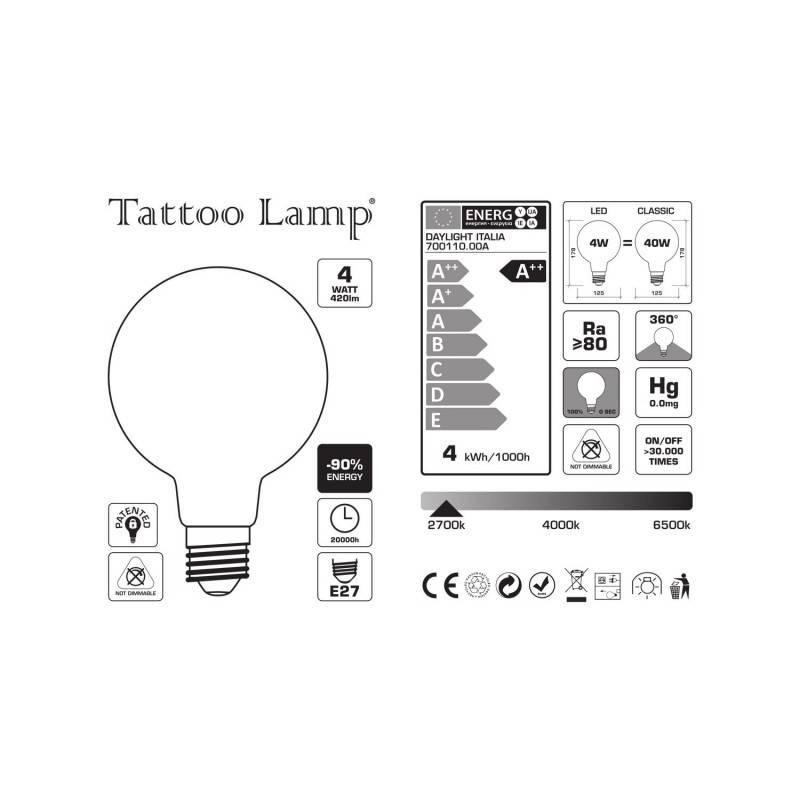 Lampadina LED Globo G125 Filamento Corto Linea Tattoo Lamp® Modello Basket 4W E272700K