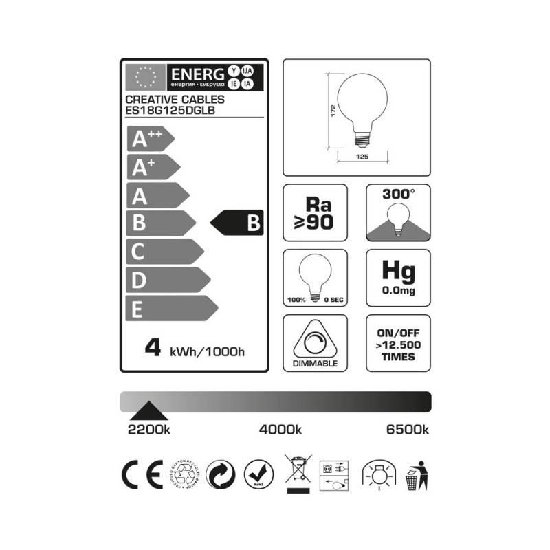 Lampadina LED Globo G125 linea Pastel Dusk filamento Vite 4W E27 Dimmerabile 2200K
