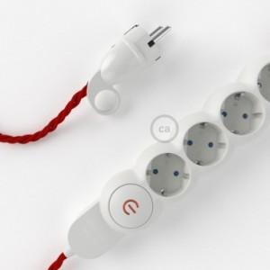 Multipresa con cavo in tessuto colorato effetto seta Rosso TM09 e spina schuko con anello confort