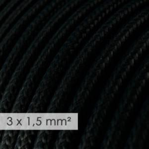 Cavo elettrico a larga sezione 3x1,50 rotondo - tessuto effetto seta Nero RM04
