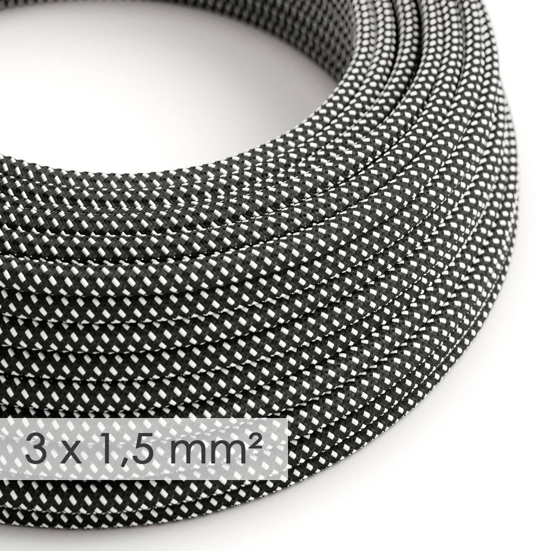 Cavo elettrico a larga sezione 3x1,50 rotondo - tessuto effetto seta 3D in rilievo Stelle RT41