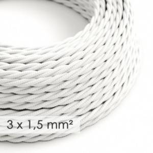 Cavo elettrico a larga sezione 3x1,50 trecciato - tessuto effetto seta Bianco TM01