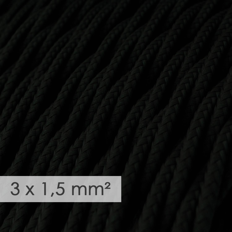 Cavo elettrico a larga sezione 3x1,50 trecciato - tessuto effetto seta Nero TM04