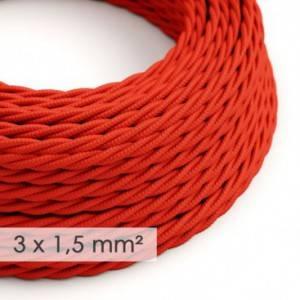 Cavo elettrico a larga sezione 3x1,50 trecciato - tessuto effetto seta Rosso TM09