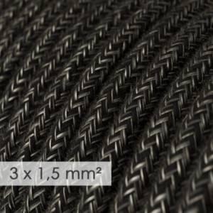 Cavo elettrico a larga sezione 3x1,50 rotondo - lino naturale Antracite RN03