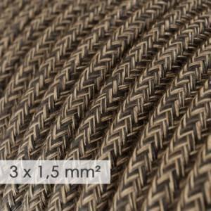 Cavo elettrico a larga sezione 3x1,50 rotondo - lino naturale Marrone RN04