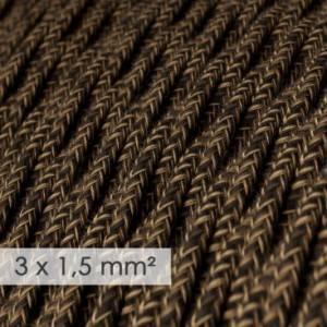 Cavo elettrico a larga sezione 3x1,50 trecciato - lino naturale Marrone TN04