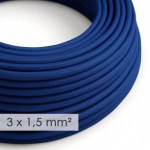 Cavo elettrico a larga sezione 3x1,50 rotondo - tessuto effetto seta Blu RM12