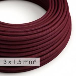 Cavo elettrico a larga sezione 3x1,50 rotondo - tessuto effetto seta Bordeaux RM19
