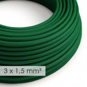 Cavo elettrico a larga sezione 3x1,50 rotondo - tessuto effetto seta Verde scuro RM21