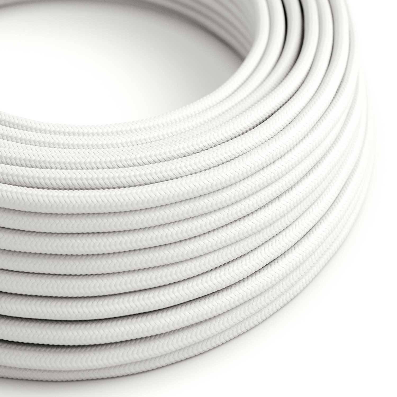 Cavo Elettrico rotondo rivestito in tessuto effetto Seta Tinta Unita Bianco RM01
