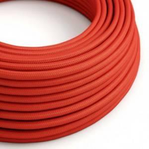 Cavo Elettrico rotondo rivestito in tessuto effetto Seta Tinta Unita Rosso RM09