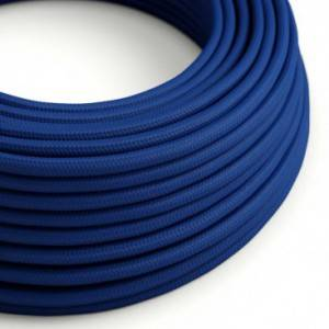 Cavo Elettrico rotondo rivestito in tessuto effetto Seta Tinta Unita Blu RM12