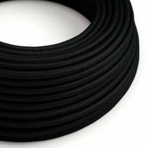 Cavo Elettrico rotondo rivestito in tessuto effetto Seta Tinta Unita Nero RM04