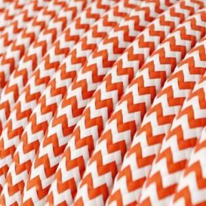 Cavo Elettrico rotondo rivestito in tessuto effetto Seta ZigZag Arancione RZ15