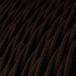Cavo Elettrico trecciato rivestito in tessuto effetto Seta Tinta Unita Marrone TM13