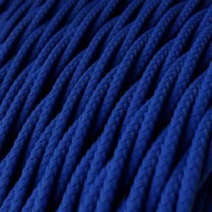Cavo Elettrico trecciato rivestito in tessuto effetto Seta Tinta Unita Blu TM12