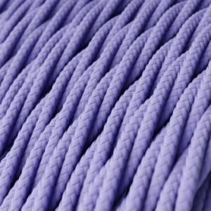 Cavo Elettrico trecciato rivestito in tessuto effetto Seta Tinta Unita Lilla TM07