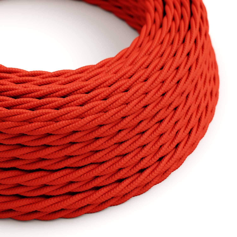Cavo Elettrico trecciato rivestito in tessuto effetto Seta Tinta Unita Rosso TM09